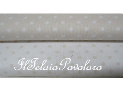 piquet beige pois bianco latte 5 mm.